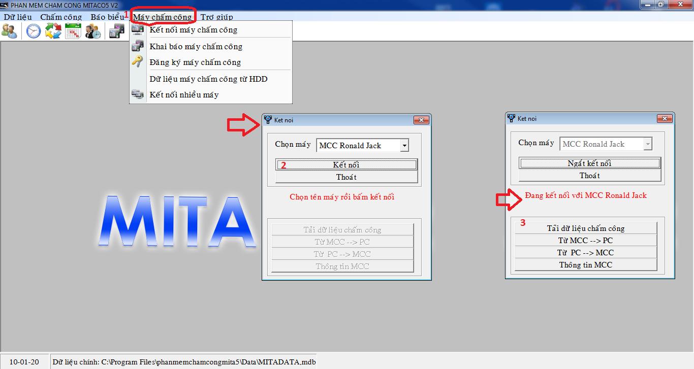 MITACO 5V2 - Phần mềm chấm công quản lý vân tay, gương mặt
