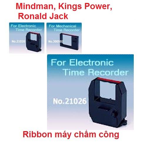Ruy băng Ribbon dùng cho máy chấm công thẻ giấy Mindman, Kings Power, Ronald Jack