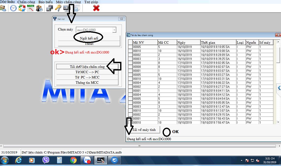 Xuất báo cáo Excel không có giờ trên phần mềm chấm công mitaco 5v2 và đọc các ký hiệu sử dụng